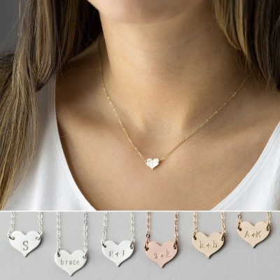 Small Heart Necklace, Dainty, Personalized 18k Gold Fill, Sterling, Rose Gold Fill, Monogram Necklace by Layered and Long LN117_10