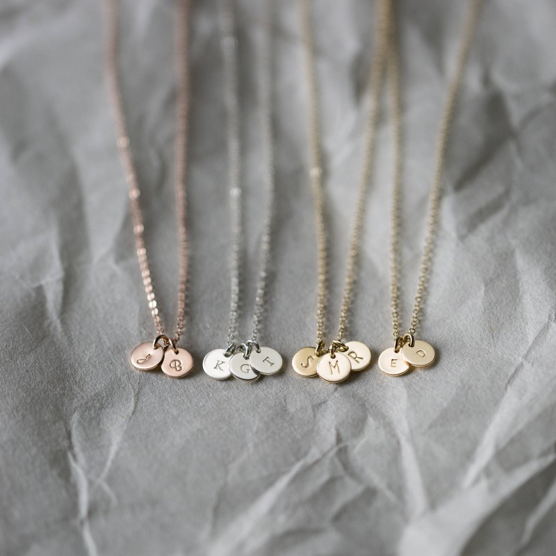 Initial necklace Handstamped necklace Gold Personalized Kids name necklace Kids initial necklace Three initial Family initial necklace
