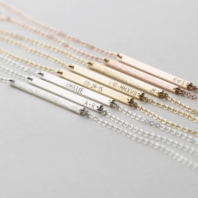 1bb6376db9bdf Ultra Dainty Personalized Bar Necklace • Custom Delicate, Tiny Letters •  Minimal Initial Necklace •