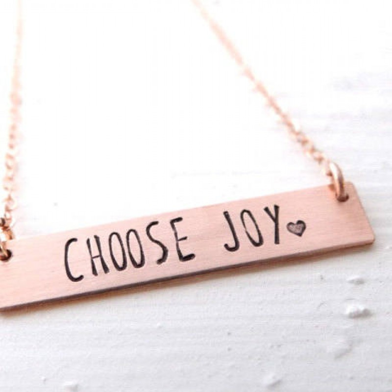 82a4567c98fbff Choose Joy Bar Necklace - Inspiration Jewelry. Hand Stamped Gold Bar  Necklace. Personalized with Your Custom Name ...