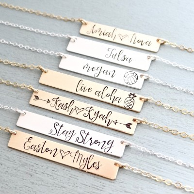 Custom Name Jewelry - Real Gold, Rose, or Silver Personalized Bar Necklace. Christmas Gift for Her, Wife, Girlfriend, Sister. Unique Gift