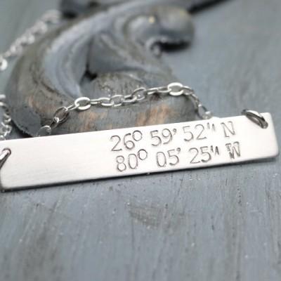 Sterling Silver Custom Latitude Longitude Bar Necklace. Hand Stamped Jewelry. Minimalist, Engraved Necklace. Layering Bar Necklace, Nautical