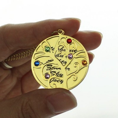 Gold Family Tree Birthstone Name Necklace - The Handmade ™