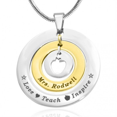 Circles of Love Necklace Teacher - TWO TONE - - The Handmade ™