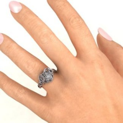 #1 Mom Caged Hearts Ring with Butterfly Wings Band - The Handmade ™