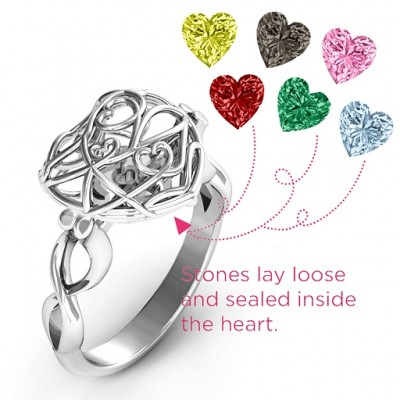 Encased in Love Caged Hearts Ring with Infinity Band - The Handmade ™