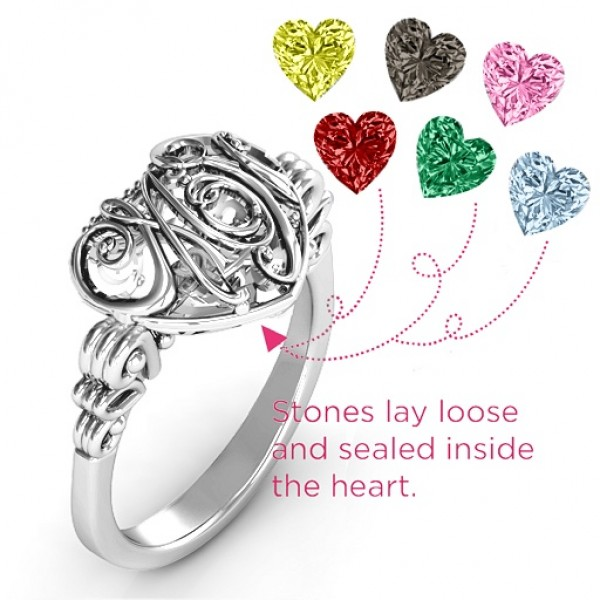Cursive Mom Caged Hearts Ring with Butterfly Wings Band - The Handmade ™
