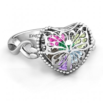 Silver Butterfly Caged Hearts Ring with Infinity Band - The Handmade ™