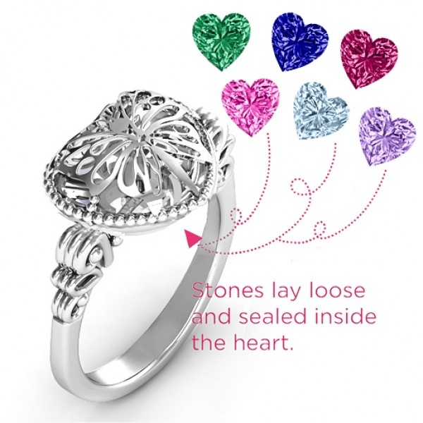 Butterfly Caged Hearts Ring with Butterfly Wings Band - The Handmade ™