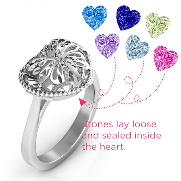 Butterfly Caged Hearts Ring with Ski Tip Band - The Handmade ™