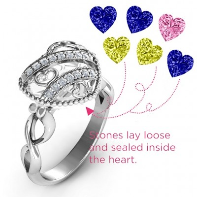 Sparkling Diamond Hearts Caged Hearts Ring with Infinity Band - The Handmade ™
