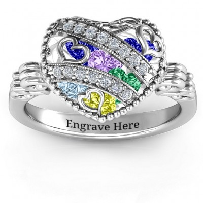 Sparkling Hearts Caged Hearts Ring with Butterfly Wings Band - The Handmade ™