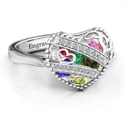 Sparkling Hearts Caged Hearts Ring with Ski Tip Band - The Handmade ™