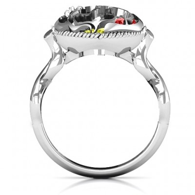 Mother and Child Caged Hearts Ring with Infinity Band - The Handmade ™
