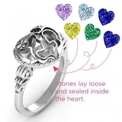 Mother and Child Caged Hearts Ring with Butterfly Wings Band - The Handmade ™