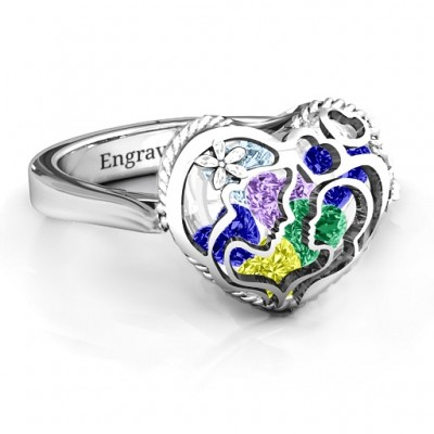 Mother and Child Caged Hearts Ring with Ski Tip Band - The Handmade ™