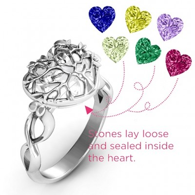 Family Tree Caged Hearts Ring with Infinity Band - The Handmade ™
