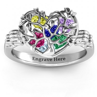 Family Tree Caged Hearts Ring with Butterfly Wings Band - The Handmade ™