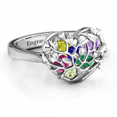 Family Tree Caged Hearts Ring with Ski Tip Band - The Handmade ™
