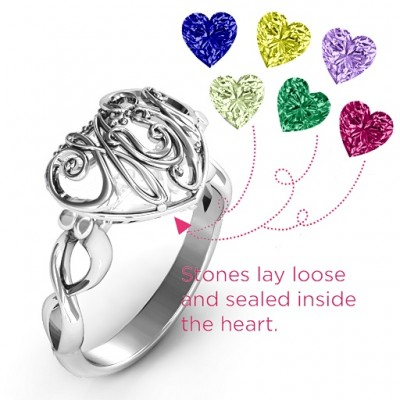 Mum heart Caged Hearts Ring with Infinity Band - The Handmade ™