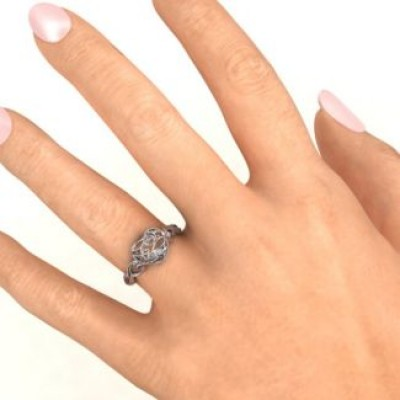 Encased in Love Petite Caged Hearts Ring with Classic with Engravings Band - The Handmade ™