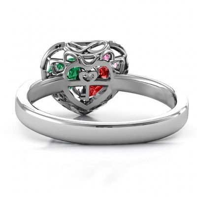 Petite Caged Hearts Ring with Classic with Engravings Band - The Handmade ™