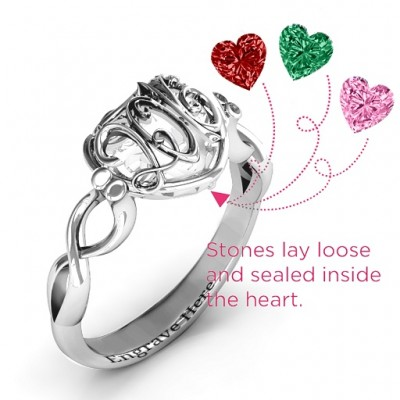 Petite Caged Hearts Ring with Infinity Band - The Handmade ™