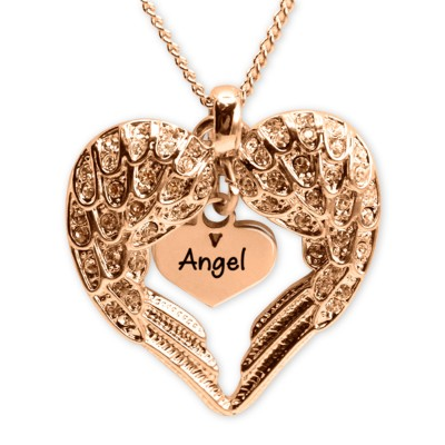 Angels Heart Necklace with Heart Insert - Rose Gold - The Handmade ™