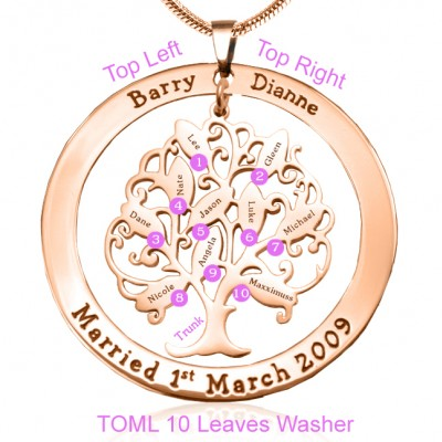 Personalised Tree of My Life Washer 10 - Rose Gold - The Handmade ™