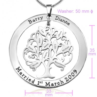 Tree of My Life Washer Necklace 10 - Silver - The Handmade ™