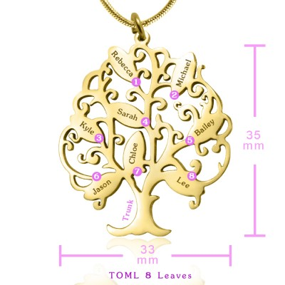Tree of My Life Necklace 8 - Gold - The Handmade ™
