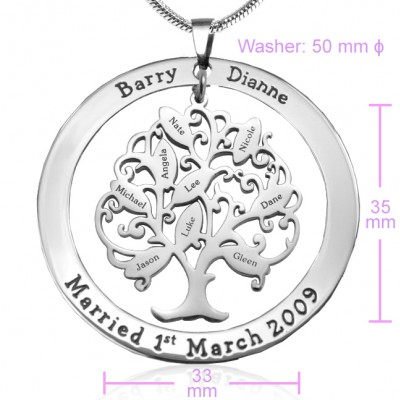 Personalised Tree of My Life Washer 9 - Silver - The Handmade ™