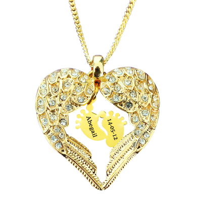 Angels Heart Necklace with Feet Insert - GOLD - The Handmade ™