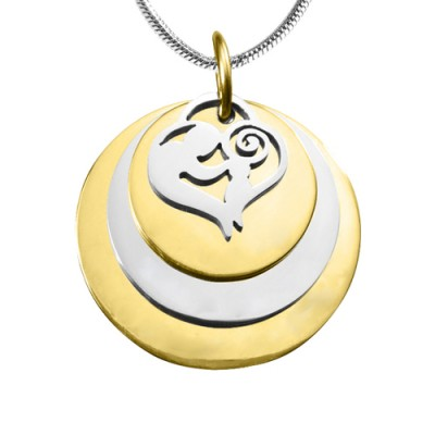 Mother's Disc Triple Necklace - TWO TONE - - The Handmade ™
