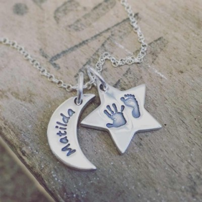 Moon & Star Hand & Foot Print Necklace - The Handmade ™