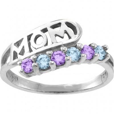 Cherish MOM Cut-out 2-6 Stones Ring - The Handmade ™
