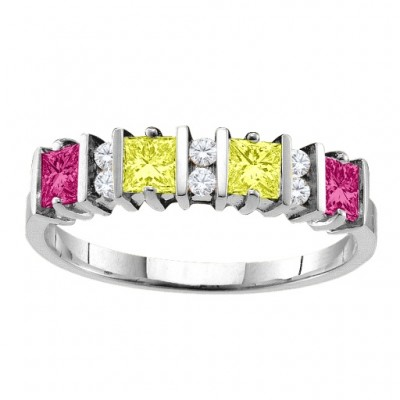 Echo 2-6 Princess Cut Stones Ring With Accents - The Handmade ™