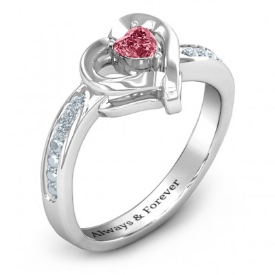 White Gold Falling For You Accented Heart Ring - The Handmade ™