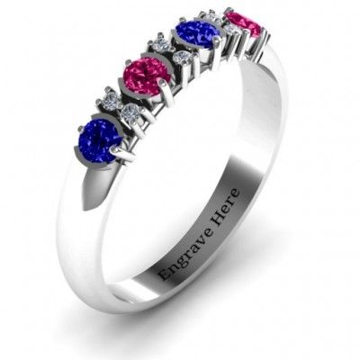 3-6 Stone Circular Half Bezel and Twin Accent Ring - The Handmade ™