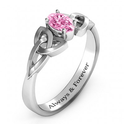Trinity Knot Oval Engagement Ring with White Topaz Stone - The Handmade ™