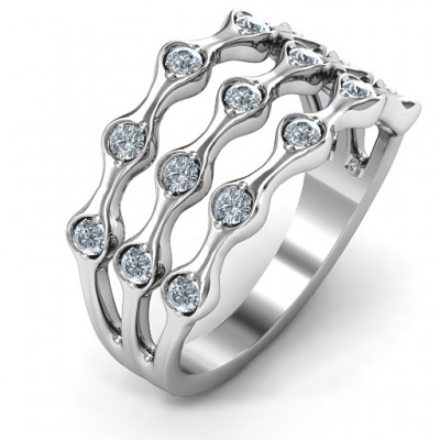 Alternating Stone Fashion Wave Ring - The Handmade ™