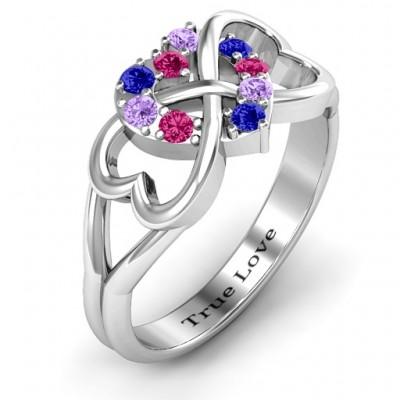 Birthstone Triple Heart Infinity Ring - The Handmade ™