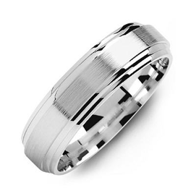 Classic Two-Line Milled-Brush Men's Ring - The Handmade ™