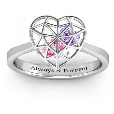 Diamond Heart Cage Ring With Encased Heart Stones - The Handmade ™