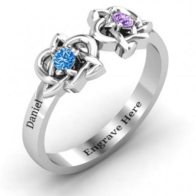 Double Celtic Gemstone Ring - The Handmade ™