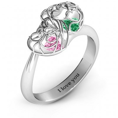 Double Heart Cage Ring with 1-6 Heart Shaped Birthstones - The Handmade ™
