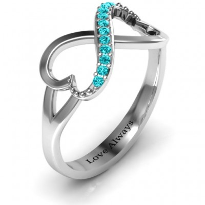 Double Heart Infinity Ring with Accents - The Handmade ™