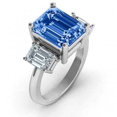 Emerald Cut Trinity Ring - The Handmade ™