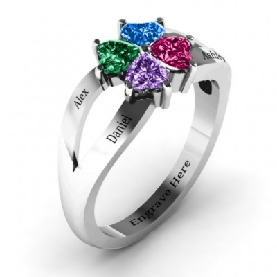 Four Clover Hearts Ring - The Handmade ™