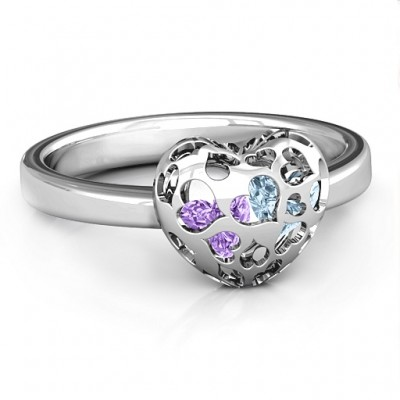 Heart Cut-out Petite Caged Hearts Ring with Infinity Band - The Handmade ™